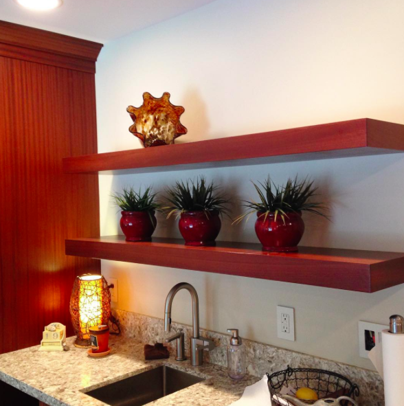 Floating shelves in Sapele